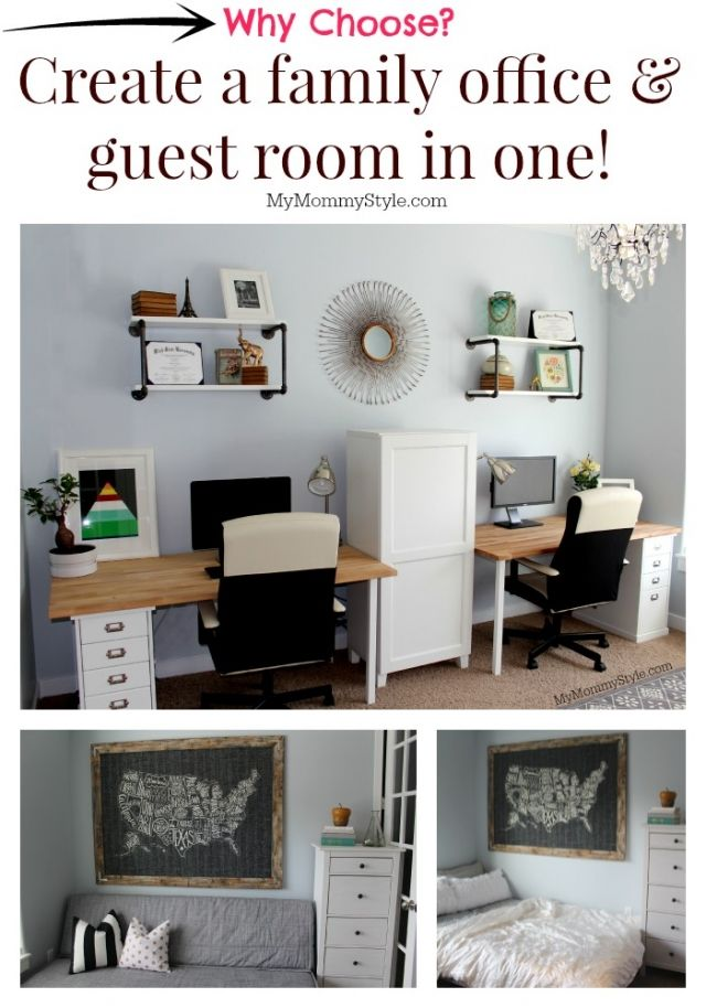 A family office and Guest Room in One! Home office that functions as a guest bedroom as well.