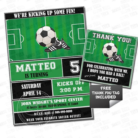 Soccer-Football Birthday Party Printable Invitation with FREE Thank you Tag-DIY Digital File-Sports Birthday Invitation -You Print