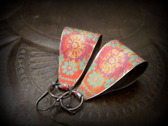 Tin Flower Vintage Hoop Earrings by YuccaBloom on Etsy, $35.00