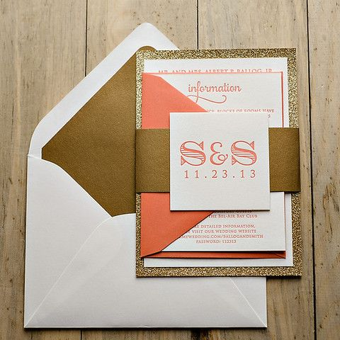 KRISTIN Suite Fancy Glitter Package, invitation with glitter paper, mounted wedding invitation, glitter wedding invitations, coral and gold invitations