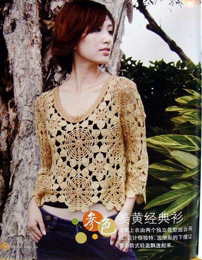 Crochetemoda: Crochet - Blusa em Rosetas
