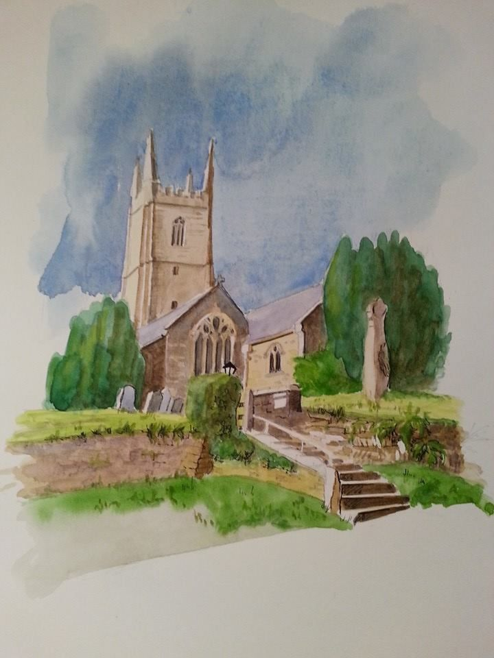 A last minute commission before Christmas. A #watercolour of Cardinham #church. #painting #art