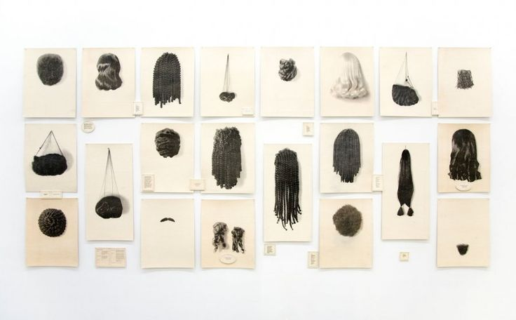 Lorna Simpson, Wigs (Portfolio), 1994, Waterless lithograph and felt, 38 panels, 72 x 162 1/2 in. overall; 18 panels, 23 x 18.5 in.  each; 2 panels, 32 x 16 in. each; 18 small text panels
