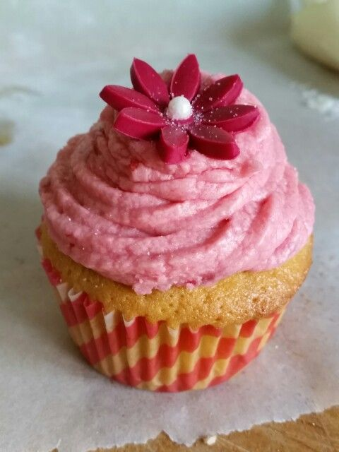Raspberry and Vanilla cupcake with raspberry frosting made with real raspberries