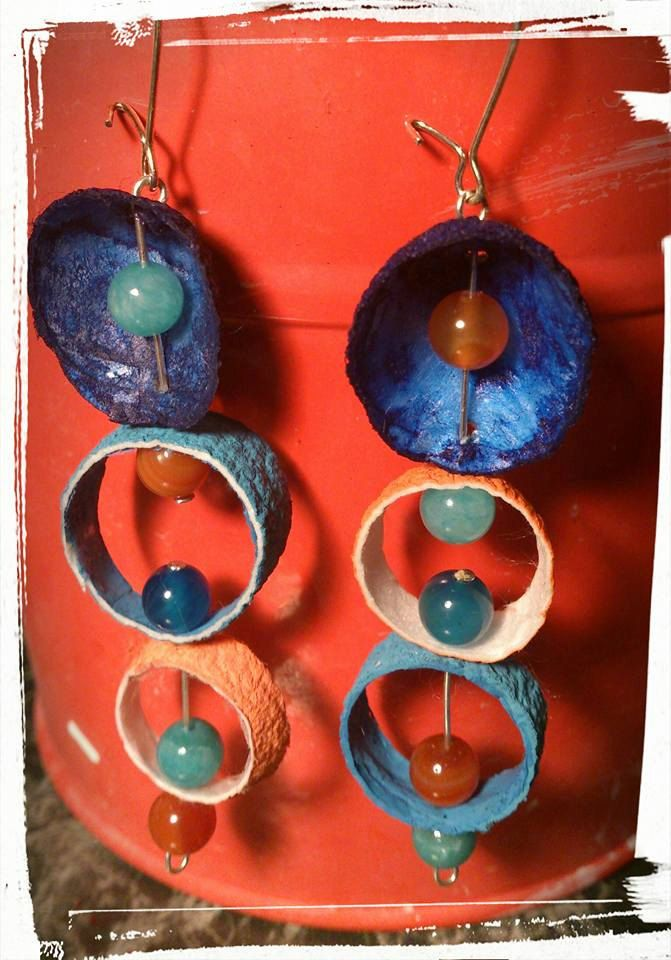 Modern Christmas gift /Silkworm cocoon earrings/ blue  turquoise orange / agate  jade round beads/OOAK,Ready to ship by SueEllenDreamland on Etsy