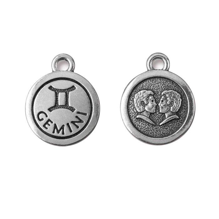 Gemini Charm Antique Silver