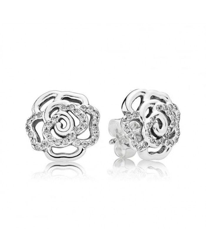 Pandora Shimmering Rose Stud Earrings 290575cz On Sale Rose Stud Earrings Pandora Earrings Stud Earrings