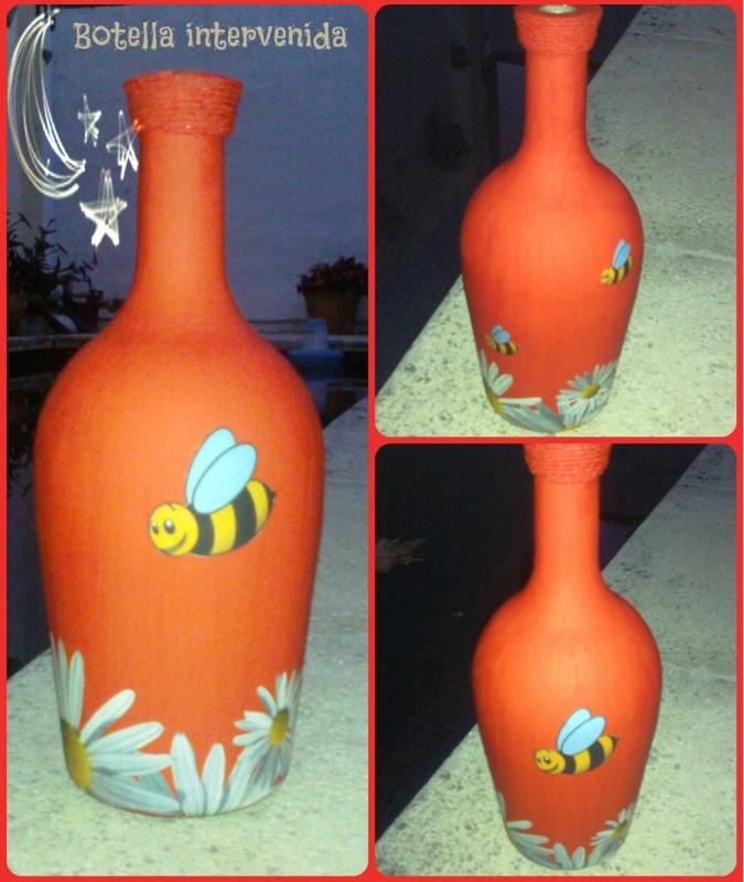 Botella decorada - pintada a mano + decoupage