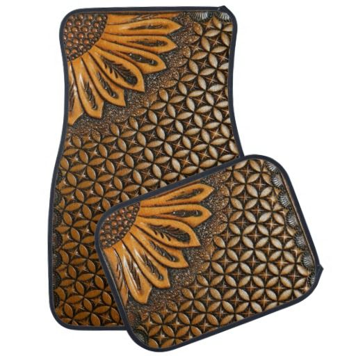 Western Tooled Leather and Sunflower Design Car Mat