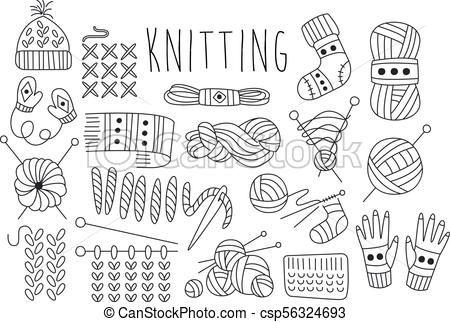 vektor, stich, satz, strickzeug, heiligenbilder, sachen, gezeichnet, theme., verwandt, hand, gestrickt, grafik, garn, nadeln, logo, gemacht, clothing….