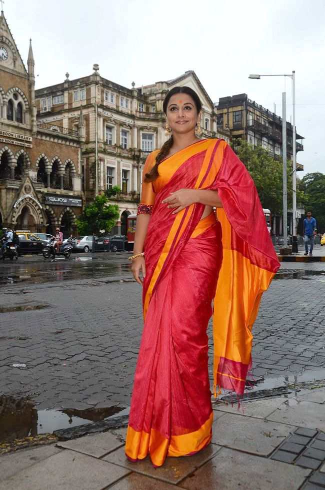 Vidya Balan in pink and gold silk sari