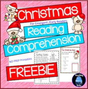 December reading activities:  FREE Christmas reading comprehension worksheets. Suitable for beginning readers.