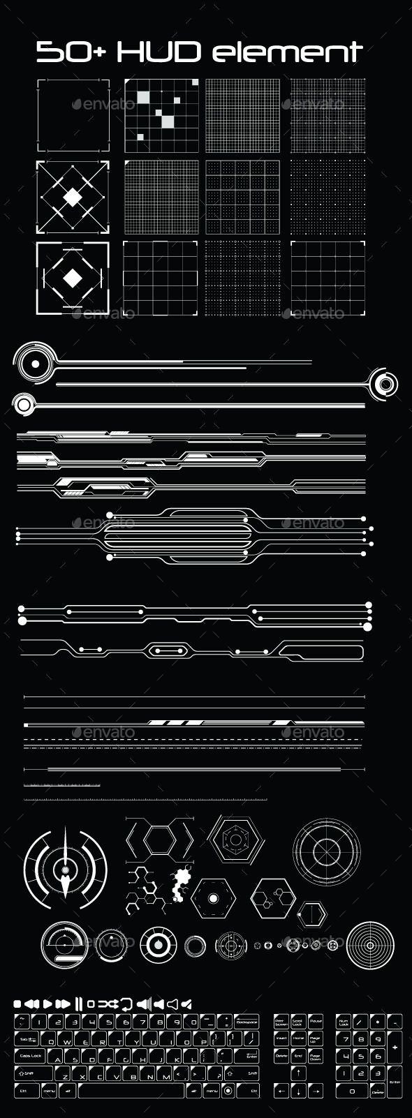 50+ Hud Element Pack Vector AI Illustrator. Download here: graphicriver.net/…