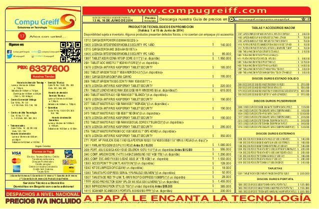 Guia de-precios-compugreiff-junio-13-al-16-2014 by Compu Greiff  via slideshare