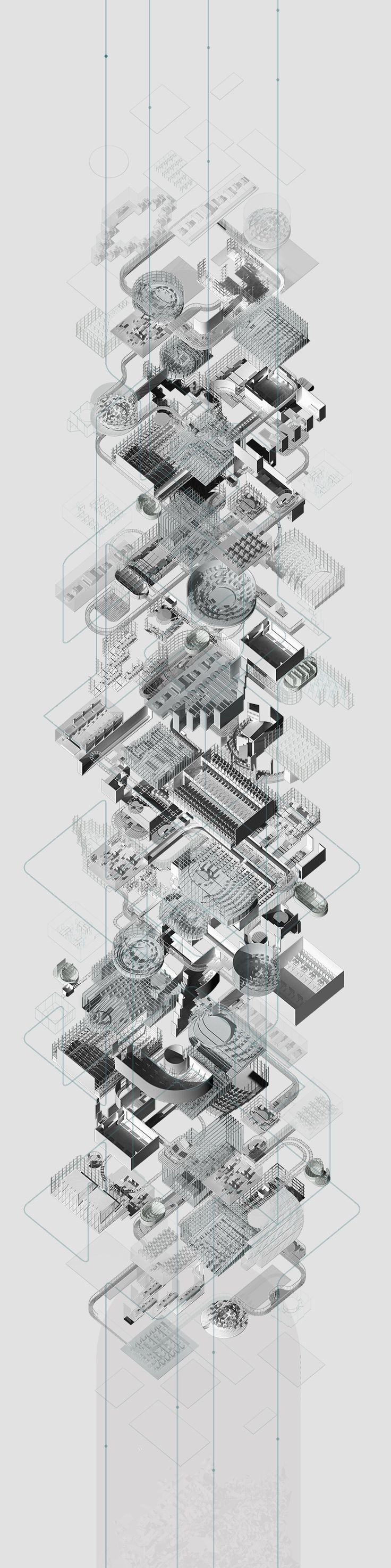 216 best images about exploded axonometric architectural for Architektur axonometrie