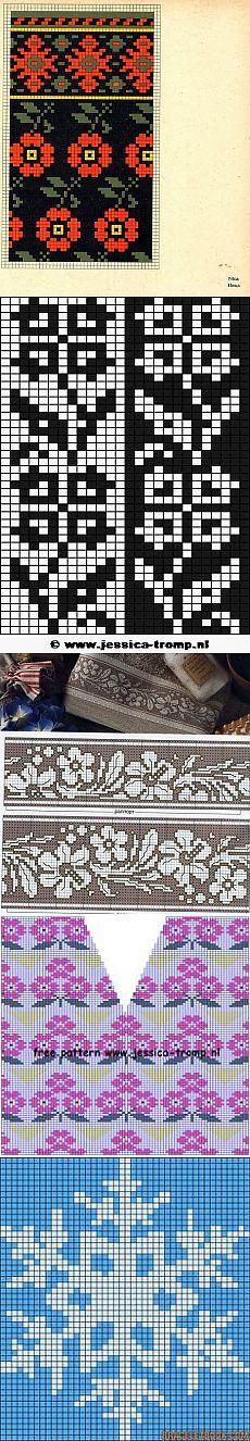 Много схем для вышивки и вязания.