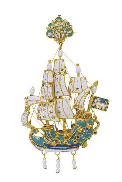 Gold earrings and gold pendants from the Greek island of Sifnos, 17th-18th century. Sailing ships with elaborate colorful enamels and pearls, reflecting  European Rococo; earring have bows with a crown on top. Athens, Benaki Museum