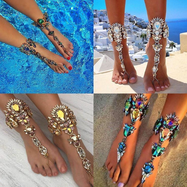 Punk Lady Crystal Anklet Chain Toe Ring Ankle Barefoot Sandal Beach Foot Jewelry #Unbranded