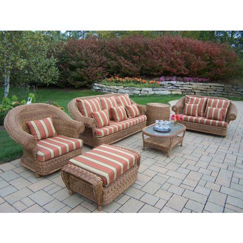Oakland Living Oxford 6pc Wicker Set with Cushions and Double Pillows by Oakland Living. $4999.80. Natural Color for Years of Beauty. Durable Resin Wicker and Steel Frame Construction. Product Dimensions Sofa - 87 x 35 x 36 - Loveseat - 67 x 35 x 36 - Chair - 45 x 35 x 36 - Ottoman - 39 x 25 x 17.5 - Cocktail Table - 48 x 26 x 19 - End Table - 28 x 28 x 25. Oakland Resin Wicker. No Assembly Required. Oakland Living's all weather resin wicker sets are the perfect editio...