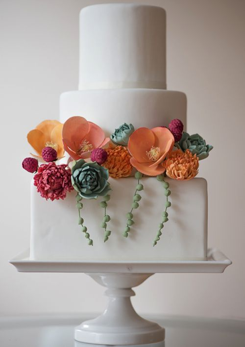 Wedding cakes decorated with succulents
