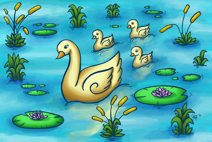 A mother swan and her three babies leisurely swimming in a pond. a digital paiting.