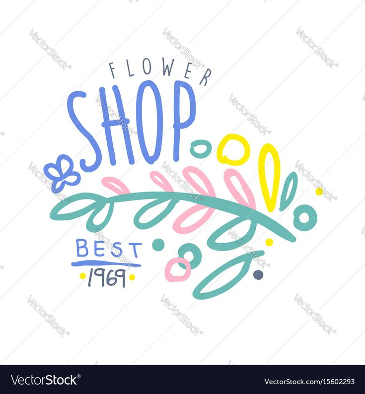Shop flower best 1969 logo template colorful hand drawn vector Illustration, badge for company identity. Download a Free Preview or High Quality Adobe Illustrator Ai, EPS, PDF and High Resolution JPEG versions.