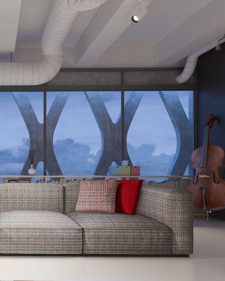 Nowoczesne wnętrze i sofa obita w tkaninę z kolekcji PIXEL.