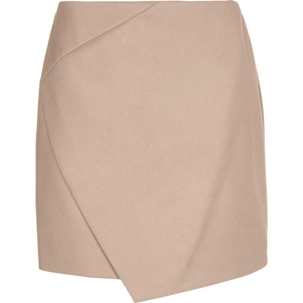 CARVEN Drap De Laine Beige // Double-layered wool mix mini skirt found on Polyvore featuring skirts, mini skirts, embellished mini skirt, pink layered skirt, carven skirt, short skirts and mini skirt