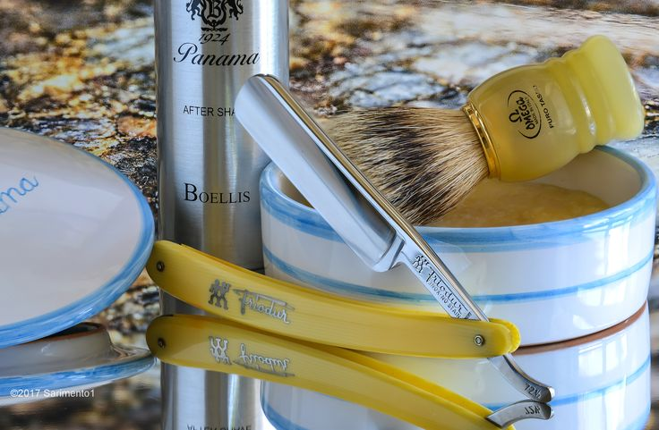 "Boellis Panama shave soap and aftershave, Omega badger brush, Henckels 6/8"" stainless steel straight razor, April 27, 2017.  ©Sarimento1"
