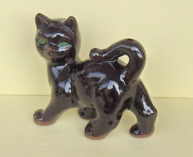 Black Cat Redware  Vintage Figurine with Green  Eyes