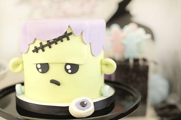 Wow!! Take a look at the incredible Frankenstein cake at this pastel Halloween Party!! See more party ideas and share yours at CatchMyParty.com #halloween #cake
