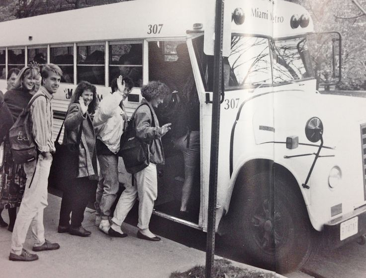In 1990, for the first time, the number of students living off-campus surpassed the number of students living on-campus. Therefore, that fall, the Miami Metro bus system was established. Source: Recensio Yearbook, 1991. #MiamiUniversity #OxfordOhio #HistoryHarvest #StudentLife #1990s
