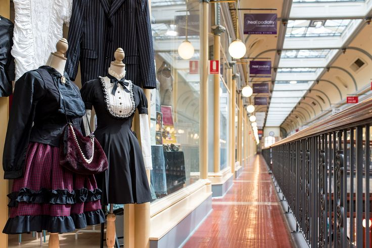 Some of our mannequins at the front of our shop! The view towards Rundle Mall out the front of A Rare Notion showing the Adelaide Arcade balcony.