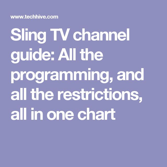 Sling TV channel guide: All the programming, and all the restrictions, all in one chart