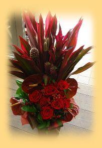 花ギフトのプレゼント【BFM】 赤、情熱、インパクト そんなフラワーアレンジメント http://www.basketflowermarkets.com/mayk65.htm  http://www.basketflowermarkets.com/
