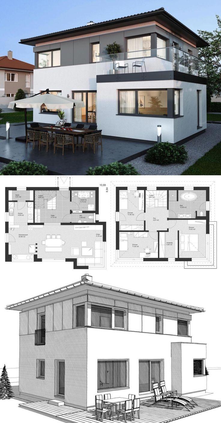 Moderne Landhaus Stadtvilla mit Walmdach Architektur, Holzfassade & 4 Zimmer Grundriss – Einfamilienhaus bauen Ideen Fertighaus ELK Haus 130 mit Erker Anbau – HausbauDirekt.de – Tzu Han Semel