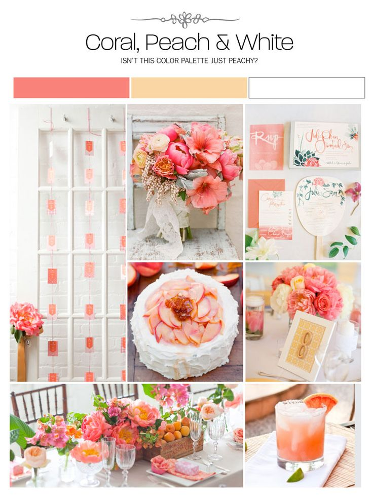 coral, peach and white wedding inspiration board, color palette, mood board, decor ideas