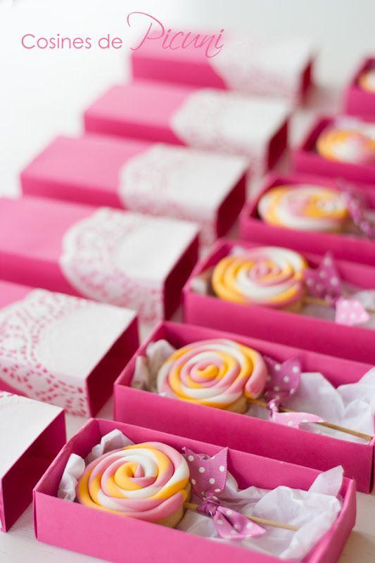 Galletas lollipops para un cumpleaños muy rosa