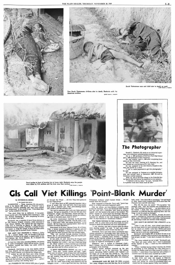Forty years ago today, The Plain Dealer published photographs of the My Lai massacre in Vietnam. The images by Army photographer Ronald Haeberle of a village burning and women and children left dead would help turn public opinion against the war. See the pages published by The Plain Dealer on Nov. 20, 1969, with Haeberle's photographs and stories by Joseph Eszterhas and Seymour Hersh.