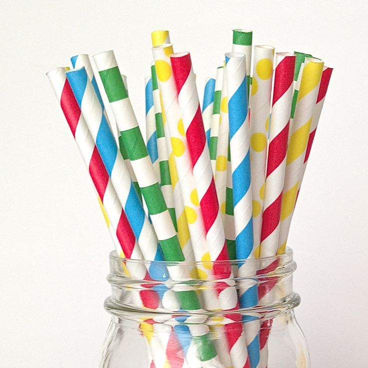 Lego Party Straws Red Blue Green Yellow