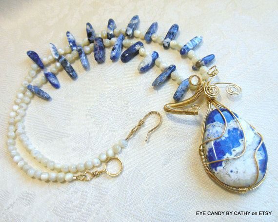 Blue and white necklace brass wire wrapped blue by EyeCandybyCathy, $59.00