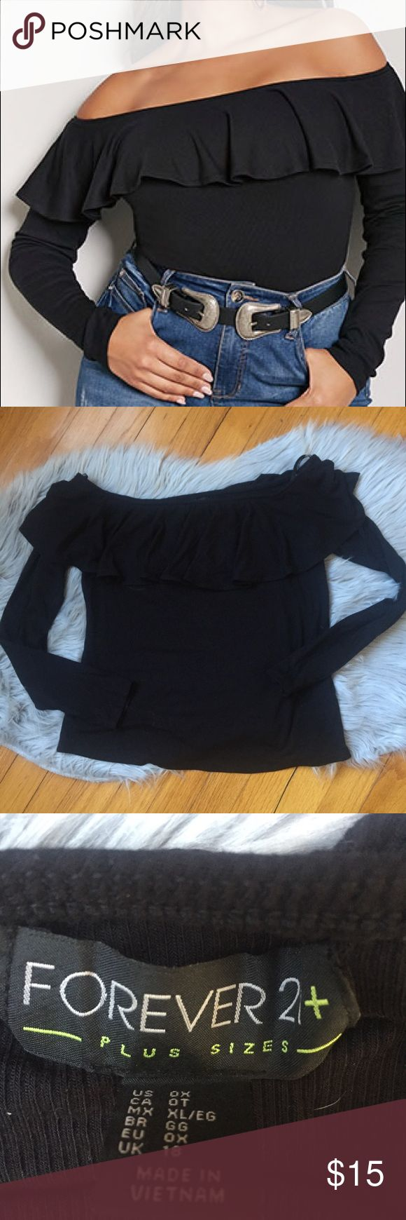 Forever 21 Ribbed Long Sleeve Off Shoulder Top Forever 21 Ribbed Long Sleeve Off the Shoulder Top with Ruffle neckline. New without tags. Never worn. Incredibly soft. No longer available online. Size 0x. Forever 21 Tops Blouses
