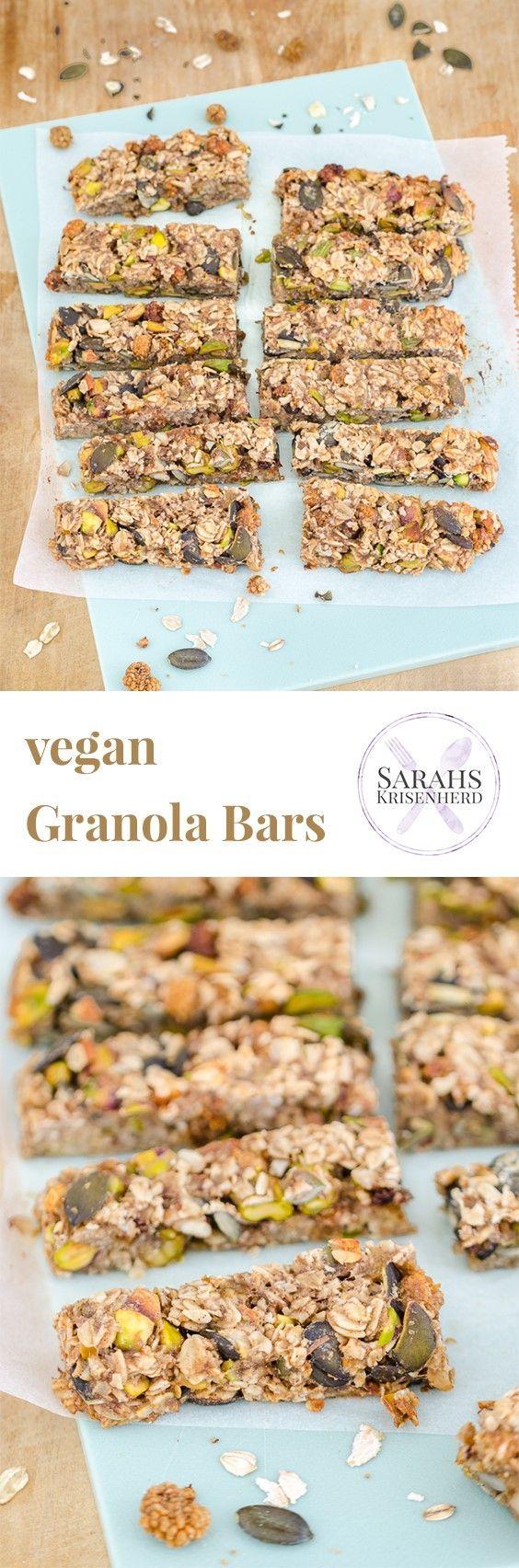 Granola Bars mit Pistazien, Kürbiskernen und Maulbeeren - lecker, gesund und vegan!