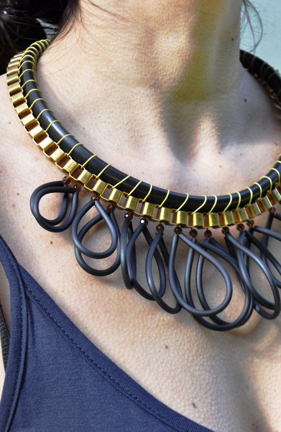 Statement Necklace  Black and Gold by ElenLovelyCollection on Etsy, €60.00
