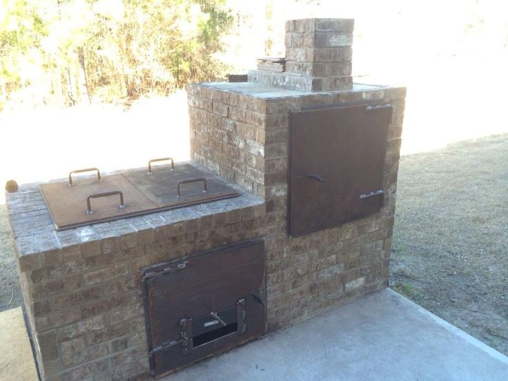7 best brick smoker images on pinterest outdoor cooking for Outdoor kitchen smoker plans