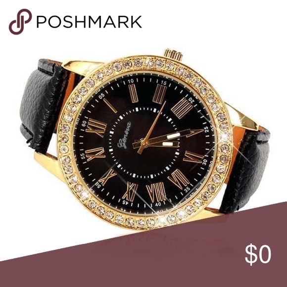 Bling rhinestone watch FREE WITH $25 BUNDLE ONLY cute watch Analog Faux leather strap Rhinestone rim and Roman numeral numbers Create a bundle adding up to $25 and tag yourself in this listing and it's yours Unbranded Accessories Watches
