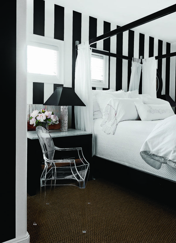 Black And White Striped Bedroom And Black Four Poster Bed