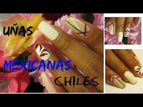 Uñas Tricolor con chiles mes patrio mexico/ Mexican cute toe nail art - YouTube