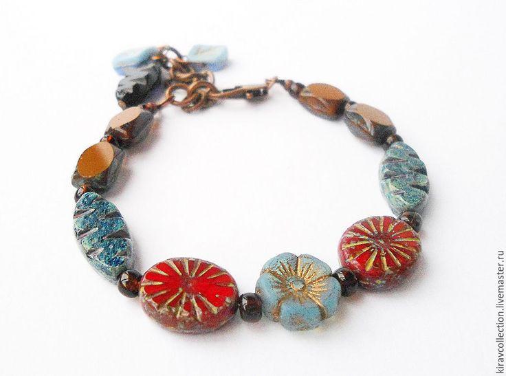Купить Комплект: браслет и серьги Гавайские цветы. - где купить браслет, купить браслет на руку