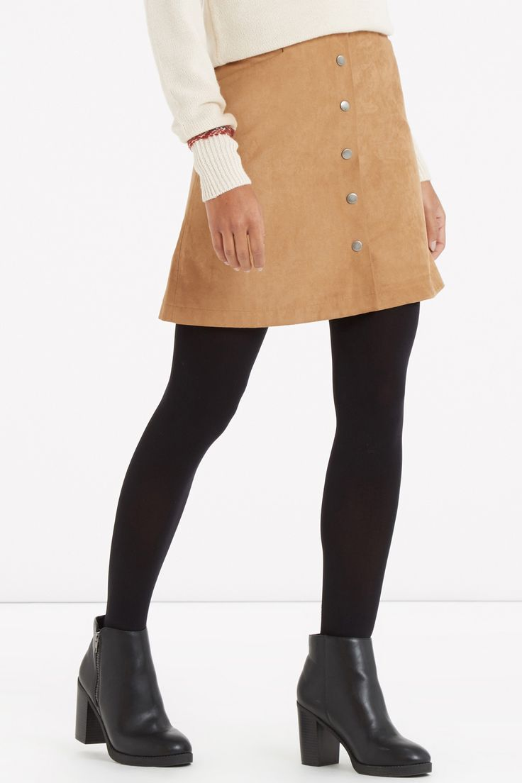 Suedette Button Through Skirt. Was £39, NOW £22 - http://www.oasis-stores.com///oasis/fcp-product/5628409